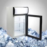 アイスクリームのためのガラスドアが付いている小さくコンパクトな小型フリーザー