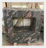 Dessus rouge multicolore chinois de vanité de marbre de granit pour la salle de bains