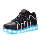 Zapatillas de deporte luminosas de cuero de la PU LED de los altos deportes