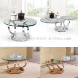 로즈 황금 스테인리스 프레임 기능적인 자전 유리제 커피용 탁자