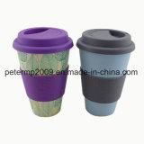 Bambusessgeschirr, Eco freundlicher Cup-, Bambusarbeitsweg-Becher mit Silikon-Kappe und Hülsen