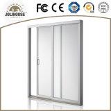 2017 puerta deslizante de la fábrica del precio de la fibra de vidrio UPVC del marco plástico barato barato del perfil con los interiores de la parrilla