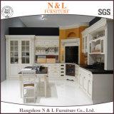 Gabinete de cozinha de madeira da madeira contínua da mobília da cor branca
