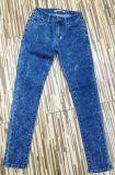 Dame-Form-Denim-Jeans-Baumwolldünne zerrissene Jeans