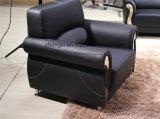 現代デザインPUの革オフィスのソファーのステンレス鋼の足のソファー