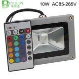10W RGB LED 플러드 빛 옥수수 속 외부 스포트라이트 IP65 LED 옥외 가벼운 반사체 반점 투광램프 원격 제어 램프