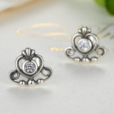 925 Sterling Silver Princess Jewellery Clear Zircon Heart Crown Stud Earrings