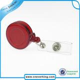 Carrete retractable promocional plástico de la divisa de la identificación de la cuerda de nylon de encargo de la insignia