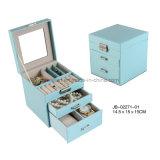 2개의 서랍 보석 저장 상자 보석함을%s 가진 Handmade 파란 가죽