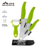 5PCS Knife Set em Peeler + Fruit + Santoku + Chef Knives with Block