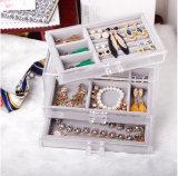 Organizador acrílico elegante da jóia de Samll com 3 gavetas