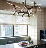 Luz colgante creativa moderna del colgante del árbol de la ramificación de la decoración LED del hotel del arte de Metal&Glass