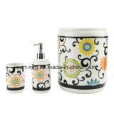 Accesorio de cerámica del cuarto de baño de la etiqueta moderna de la flor/accesorio del baño/conjunto del cuarto de baño