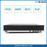 4 megapixels 8 canais Rede DVR com P2p HDMI Onvif H. 264