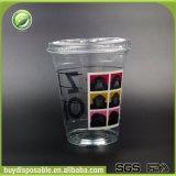 copo plástico da bebida do animal de estimação 12oz desobstruído descartável com tampa