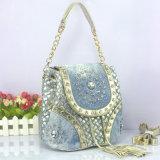 Bolso de señora Shoulder Messenger Bag Tassel de la mujer del diseñador de Demin del Rhinestone de la manera