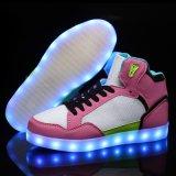 Unisex- Lichte Opvlammende LEIDENE van Volwassenen Schoenen 2016, Toevallige LEIDENE van de Last USB Lichte omhoog Hoge Hoogste Tennisschoenen
