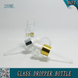 20ml esvaziam o frasco de vidro cosmético transparente do conta-gotas para o ácido hialurónico