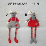 Pompom Legged Mouse com presente + bebê, Christmas Decoration 2 Asst