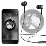 Microfone intra-auricular Som preto estéreo no controle de linha fones de ouvido com fio