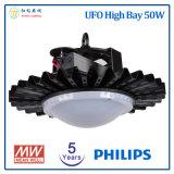 5 anni della garanzia 50W di alto indicatore luminoso della baia del UFO LED con il chip di Philips LED ed il driver di Meanwell LED
