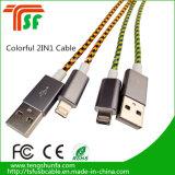 De nieuwe van het Ontwerp Populaire Dubbele 2in1 Kabel van usb- Gegevens voor Telefoons