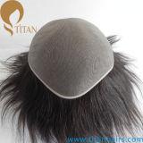 Mono peruca indiana baixa do cabelo humano de Remy para homens