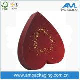 Caixa de embalagem de chocolate rígido com cartão em forma de coração vermelho com janela de exibição em PVC