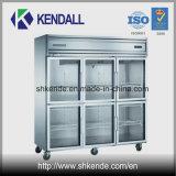 Réfrigérateur en verre droit de film publicitaire d'acier inoxydable de porte