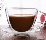 Tazza di caffè di vetro & tazza di caffè doppia del piattino con la maniglia