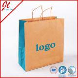 Голубые выдвиженческие многоразовые мешки подарка бумаги хозяйственной сумки бумаги Kraft упаковывая мешки