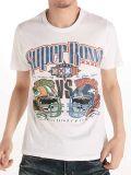 T-shirt en gros fait sur commande de coton d'hommes blancs d'impression d'écran de mode
