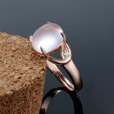 Anillo cristalino de la apertura del color de rosa del embutido del oro de Rose de la manera de las mujeres