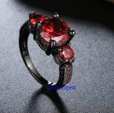 黒によってめっきされるカラーCZの宝石類のリング(R0846)