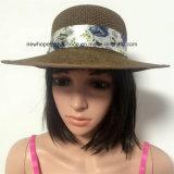 100%年麦わら帽子、軽くて柔らかいリボンの装飾との方法バイザー様式の