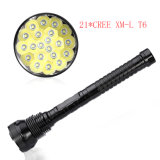 CREE T6 25000lm 1500m 18650 Rechargeable DEL Flashlight de 21PCS DEL