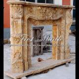 Binnen Marmeren Open haard mfp-1027 van het Calcium van de Travertijn van het Graniet van de Steen Gouden