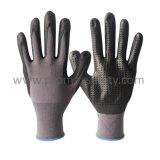 серые Nylon перчатки 15g с нитрилом пены черноты ультра тонким и миниые многоточия на ладони