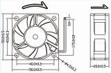 ventilateur de refroidissement sans frottoir 50X50X20mm de C.C roulement à billes de 5V 12V 24V 2wires