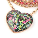 Cetim e pendente Necklace de Chain Braided Big Heart (XJW1046)