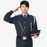 Tecla acima do uniforme do protetor de segurança com bolso da caixa