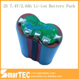 18650 nachfüllbares 7.4V 2.2ah Lithium Li-Ion 2s Battery Pack