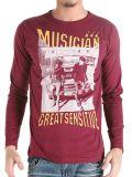 T-shirt rouge foncé d'hommes estampé par écran fait sur commande de mode de coton