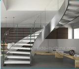 Escaleras moderna forma de arco con doble placas de acero / curvo de vidrio Escalera con barandilla de acero inoxidable
