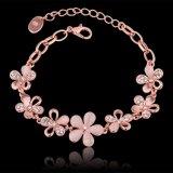 Form-umweltfreundliche Rosen-Goldarmband-Kristallblumen-Form-hängendes Charme-Armband