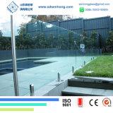 piscina inferior el 1/2 clara del hierro de 12m m que cerca el vidrio endurecido