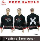 Hóquei Jersey do gelo da cor vermelha do preto do logotipo do Applique de Healong