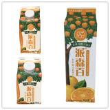 Carton triangulaire de jus d'orange avec des chapeaux