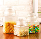 Нордический высеканный опарника конфеты опарника еды опарник стеклянного стеклянного стеклянный с загерметизированной крышкой
