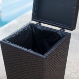 Well Furnir Wicker Outdoor Trash Can